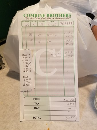 Combine Brothers Bar & Grille: Our bill for 2.