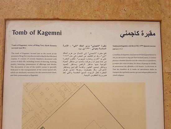 Mastaba of Kagemni: Informações turísticas existentes no local