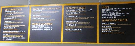 SLAB BBQ & Beer: menu