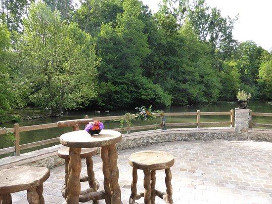 Varennes-Jarcy, France : la terrasse donnant sur la rivière et le bois