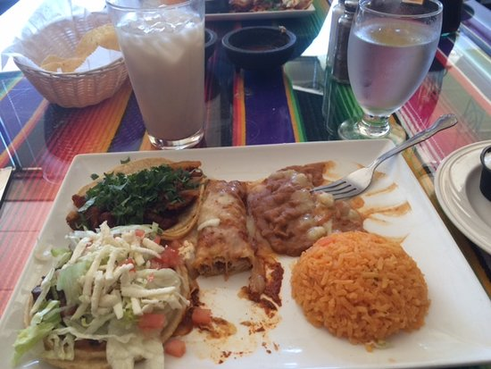 Polanco Mexican Restaurant & Cantina: #2 Mexican Combo - 1 chicken enchilada, 1 taco al pastor, 1 steak sope