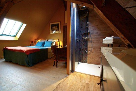 Orne, França: l'espace douche à l'italienne  de la chambre ALFRED ouvert mais preservant l'intimité de chacun