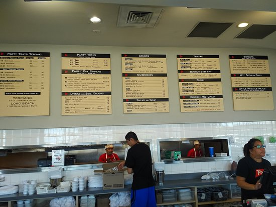 Menu board and service area at Rascals Teriyaki Grill in Gardena, CA