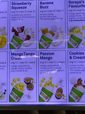 Boost Juice Bars: Ingredients described in each drink