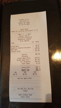 The Postmark Grille: our tab for two
