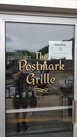 The Postmark Grille: sign on door