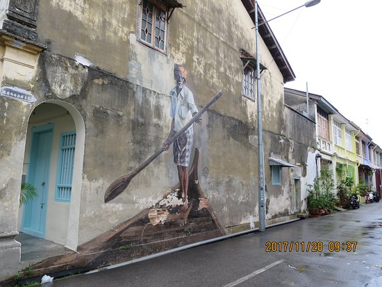 Street Art in George Town: 「The Indian Boatman」です!!インド人なんですね~