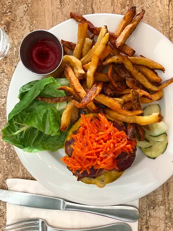 Grazin': Thick, juicy burger with carrot relish!