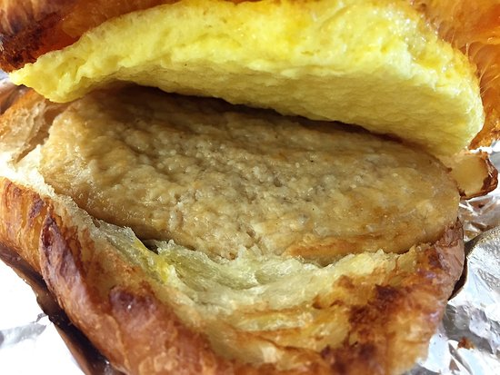 Hudson News-Euro Cafe: Cheese, egg and sausage on croissant