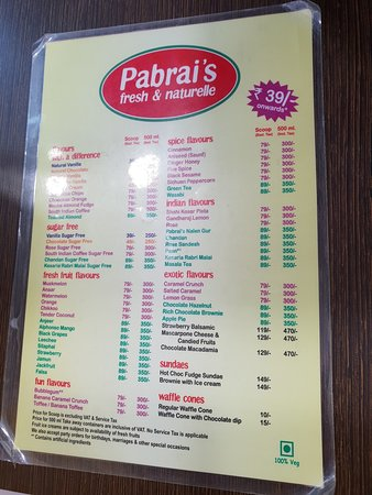 Pabrai's fresh and naturelle ice creams : Menu