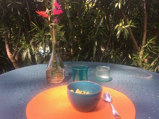 Castillon-du-Gard, Frankrike: Le petit déjeuner servi en terrasse face au jardin