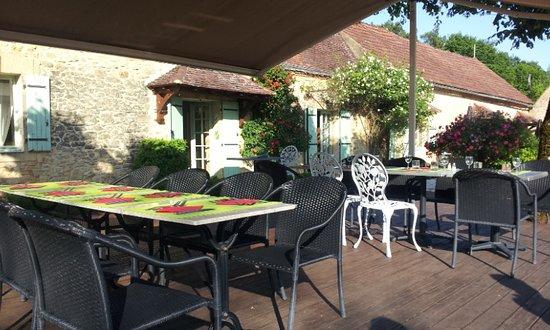 Meyrals, France: terrasse pour dîner du soir ,sert également pour commander à boire en journée