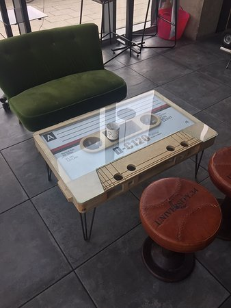 """Willesden, UK: A close up view of the """"cassette"""" tables."""