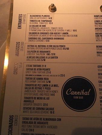 Cannibal Raw Bar Madrid: Carta