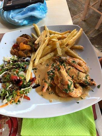 Kalia Beach Hotel: Shrimps in Galrlic - Pella Taverna