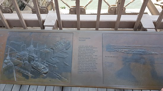 Pont de Brooklyn : Plaque about Governor's Island.