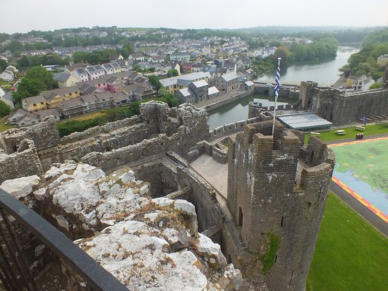 Pembroke Castle: Looking out from the top of the Keep