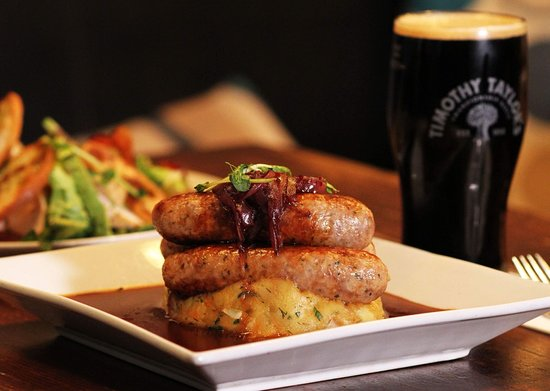 Town Hall Tavern : Juicy sausages, onion gravy and mashed potato...