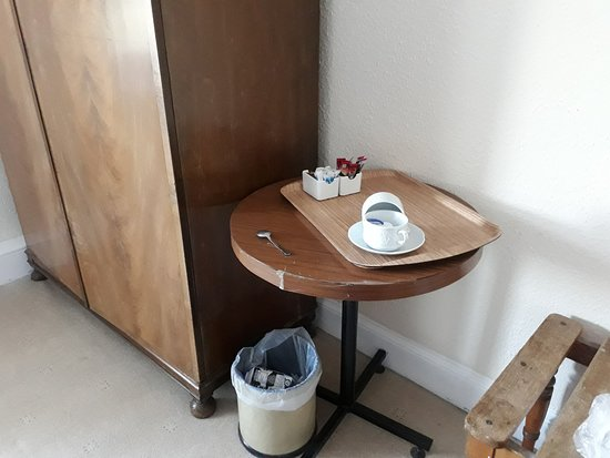 St. John's Town of Dalry, UK: Table held together with tape