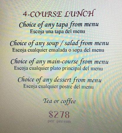 Ole Spanish Restaurant & Wine Bar: 4-Course Lunch Menu