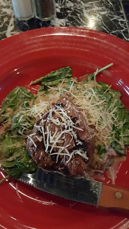 Motsie's Sea Grille: One of the specials for the night - Filet over sauteed oysters and spinach with Parmesan!