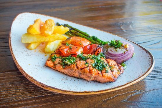 Kocina Il Forno : Fresh Grilled Salmon with Fried Yucca and Asparagus