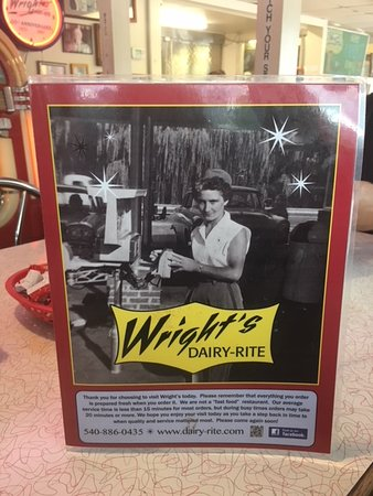 Wright's Dairy Rite : Menu Cover
