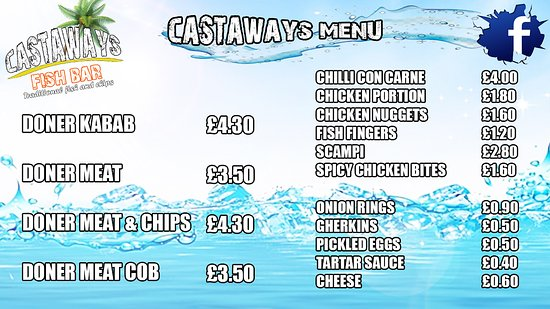 Castaways Fish Bar: main menu