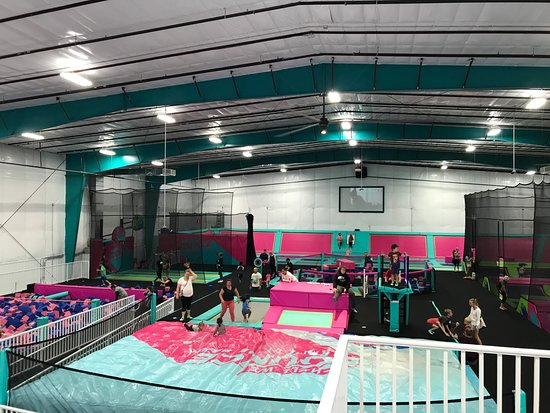 Shell We Bounce Trampoline Park seen from 2nd level