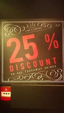 Lino's Coffee: 25% Discount on Takeaway
