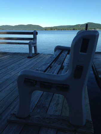 Inlet, NY: Morning on the Dock benches