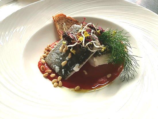 Trattoria 'L Castellaro: Cuore di baccalà cotto a bassa temperatura con crema di peperoni rossi