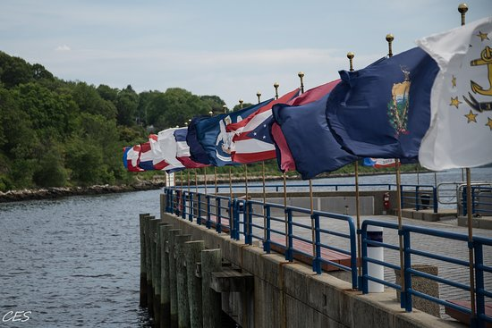 The Submarine Force Museum: Flags on the dock