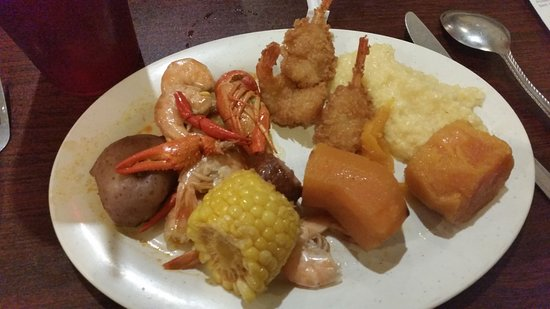Byron, GA: Low country boil, butterfly shrimp, sweet potatoes, grits