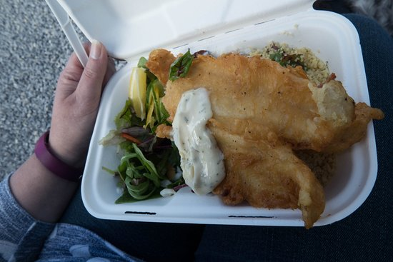 The Seafood Shack: Tempura battered haddock with salad and couscous.
