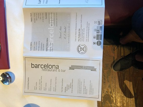 Barcelona Restaurant and Bar : menu