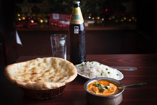 Tandoori Masala: Chicken Korma with Basmati rice, Naan bread and Indian beer, Cobra.