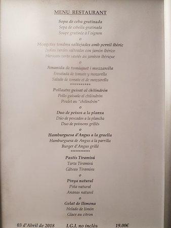 Hotel Mola Park Restaurant: Menu