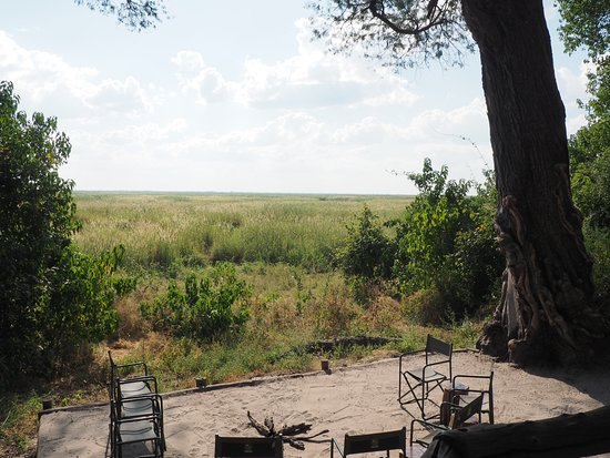 Linyanti Reserve, Botswana: View from main dining/living room tent/deck and morning camp fire area.