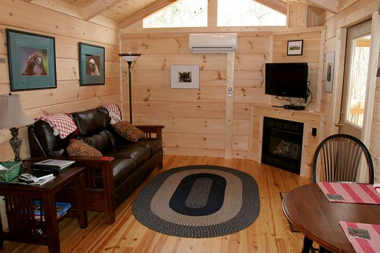 Pine Gables Cabins: The living room in the Owl's Nest Cabin.