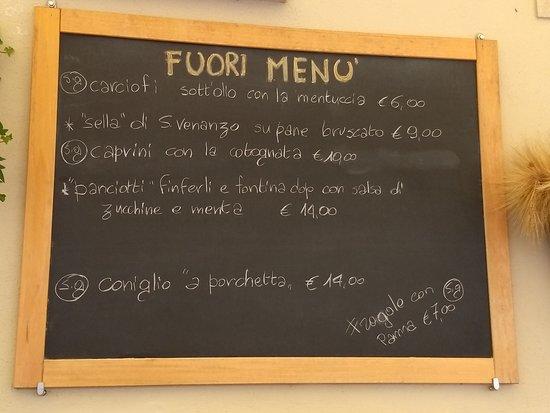 Antica Cantina: specials menu