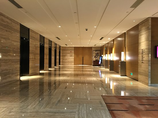 Hyatt Regency Shanghai, Wujiaochang: Elevators to 1st Floor on Left