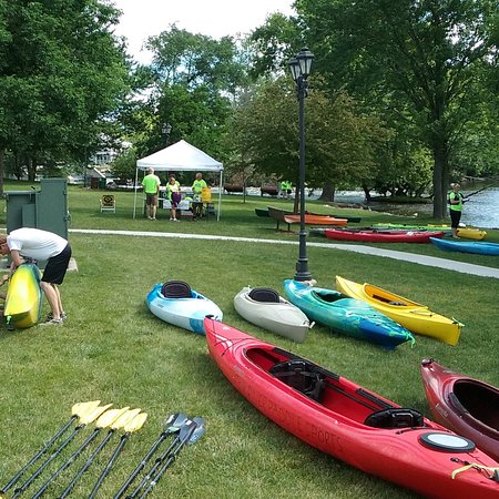 Village Hall Park is adjacent to Fox River Paddle Sports.