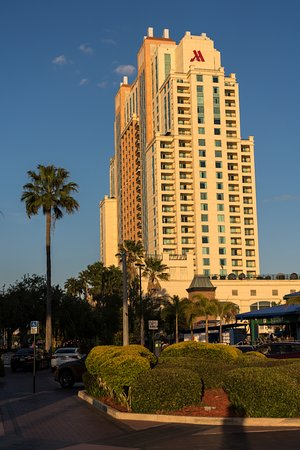 The Sail Pavilion on the Riverwalk: The Marriot hotel in the sunset