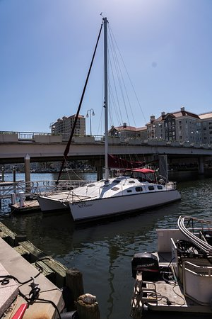 The Sail Pavilion on the Riverwalk: A catamaran available for day sails