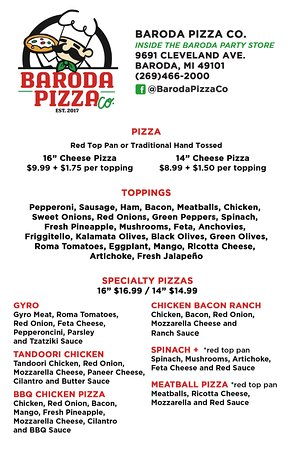 Baroda Pizza Co. : menu