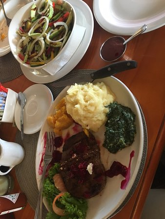 Sabie, Sudáfrica: My venison meal with potatoes was cooked just the way I like it