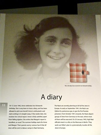 Dominion Museum: Placard Showing Picture of Anne and Her Famous Diary