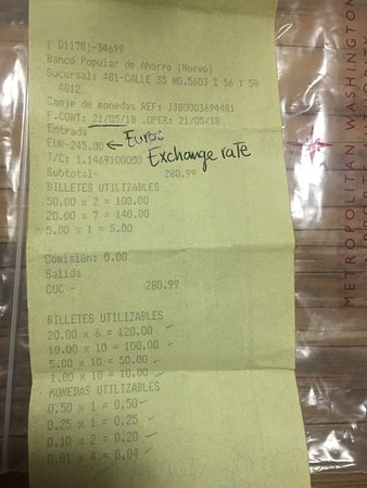 Old Havana Bank Receipt For Exchanging Euros To Cuc