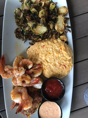Acme Lowcountry Kitchen: Lighthouse with pimento cheese grits and fried brussel sprouts